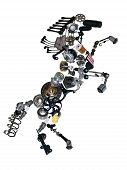 image of spare  - Many new spare parts in the form of a horse - JPG