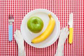 picture of starving  - dog food bowl with an apple and banana with knife and fork on tableclothpaws of a dog - JPG