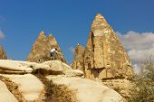picture of goreme  - Photographer takes pictures of the mountain landscape in Goreme
