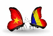 pic of chad  - Two butterflies with flags on wings as symbol of relations Vietnam and Chad Romania - JPG