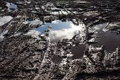 picture of mud  - Mud and puddles on the dirt road - JPG