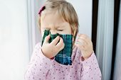 image of sick  - sick toddler girl with handkerchief at the home - JPG