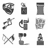 stock photo of paintball  - Set of black silhouette flat icons for paintball equipment and outfit on white background - JPG