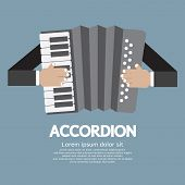 stock photo of accordion  - Vintage Musical Instrument Accordion Vector Illustration - JPG