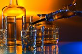 picture of vodka  - vodka in bar on a glass table - JPG