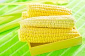 pic of sweet-corn  - boiled sweet corn on the wooden table - JPG