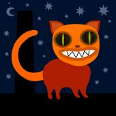 foto of wane  - Cute orange monster cat with bared teeth on roof at night - JPG