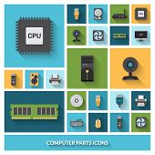 image of processor  - Computer parts decorative icons set with processor - JPG
