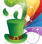 foto of leprechaun hat  - Leprechaun hat with gold coins on rainbow background - JPG