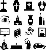 stock photo of funeral  - 16 Funeral vector icons set in black - JPG