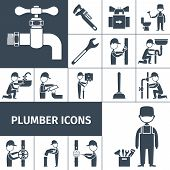 pic of plumber  - Plumber decorative icons black set with bath shower and water pipeline equipment isolated vector illustration - JPG