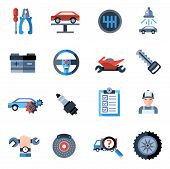 picture of mph  - Car repair icons set with mechanic service and garage tools isolated vector illustration - JPG