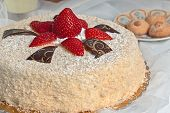 foto of sponge-cake  - inviting cake with sponge cake and red strawberries - JPG