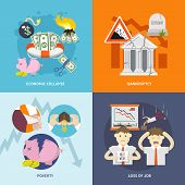 image of crisis  - Economic crisis design concept set with collapse bankruptcy poverty job loss flat icon isolated vector illustration - JPG
