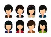 stock photo of faceless  - Illustration of a female asian faceless avatar wearing head set - JPG