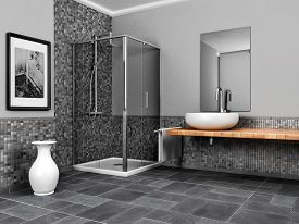 picture of stone floor  - 3d illustration of large bathroom with stone and mosaic grey tone - JPG