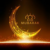 picture of crescent  - Beautiful floral design decorated golden crescent moon on shiny background for famous festival of Muslim community - JPG