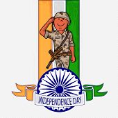 foto of ashoka  - Young saluting soldier with Ashoka Wheel on national flag colors background for Indian Independence Day celebration - JPG