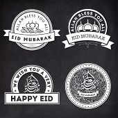 picture of arabic calligraphy  - Set of stylish stickers or labels design with Arabic Islamic calligraphy of text Eid Mubarak on chalkboard background for Muslim community festival celebration - JPG