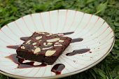image of brownie  - Chocolate Brownies cake on a white plate - JPG