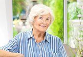 image of beautiful senior woman  -  Beautiful senior woman sitting in her winter garden  - JPG