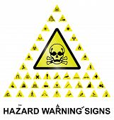 picture of hazardous  - Make your own hazard warning sign with main central sign and forty related hazard warning graphics isolated on white background - JPG