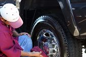 stock photo of car wash  - Tire Cleaning - JPG