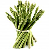 stock photo of white asparagus  - Bunch of Fresh Ripe Asparagus Sprouts isolated on White background - JPG