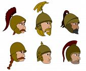 foto of gaul  - Illustration set of heads and helmets of ancient warriors from the Punic wars era isolated on a white background - JPG