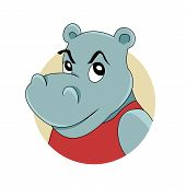 foto of hippopotamus  - Illustration of a head of cute smiling hippopotamus isolated on a white background - JPG
