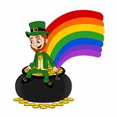 pic of pot gold  - Illustration of a smiling leprechaun wearing a green suit a bow - JPG