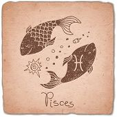 pic of pisces  - Pisces zodiac sign horoscope vintage card - JPG