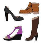 stock photo of shoes colorful  - Set of vector icons of womens shoes in color shoes - JPG