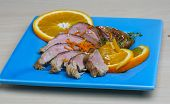 foto of roast duck  - Roasted duck breast with orange and sesame seeds - JPG