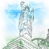 stock photo of statue liberty  - Watercolored illustration of the Statue of Liberty - JPG