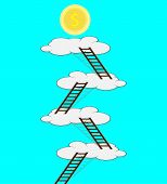 stock photo of stairway to heaven  - Stairway to the cloud for the money - JPG