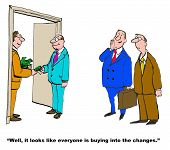 pic of change management  - Business cartoon of manager giving employee money and boss saying - JPG