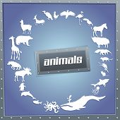 picture of blue animal  - Concept blue poster for boys with animals silhouettes around with text inside - JPG