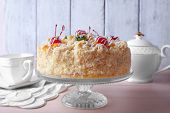 stock photo of cake stand  - Butter cake with cherries on stand - JPG