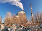 stock photo of chimney  - Coal power plant production building and chimneys - JPG
