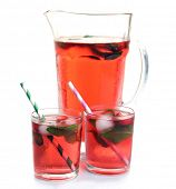 picture of jug  - Full jug and glasses of strawberry juice isolated on white - JPG