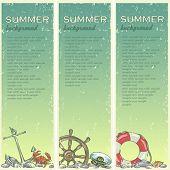 foto of beach shell art  - Summer beach background with sample text - JPG