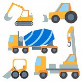 picture of machinery  - Set of construction machinery for repairs and loading - JPG