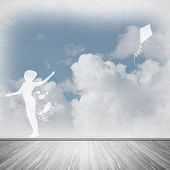 picture of kites  - Silhouette of teenager girl playing with flying kite - JPG