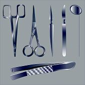 picture of scalpel  - Set of surgical instruments in the metal - JPG