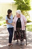 stock photo of granddaughters  - Teenage Granddaughter Helping Grandmother Out On Walk - JPG