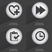 picture of tasks  - Heart with plus Rewind Task completed Clock icon sign - JPG