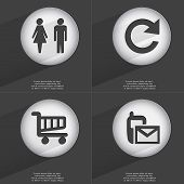 picture of sms  - Silhouette of man and woman Reload Shopping cart SMS icon sign - JPG