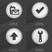 picture of sms  - SMS Tick Arrow directed up Wrench icon sign - JPG
