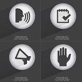 picture of tasks  - Talk Task completed Megaphone Hand icon sign - JPG